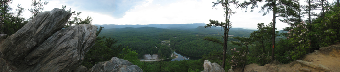 Panoramic photo of Camp Raven knob taken from the upper knob