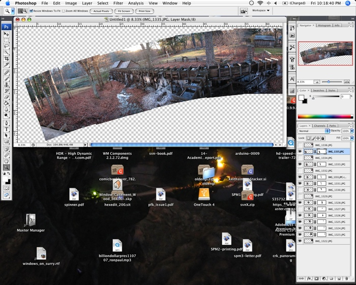 Screenshot of a crooked stitched panoramic being worked on in Photoshop