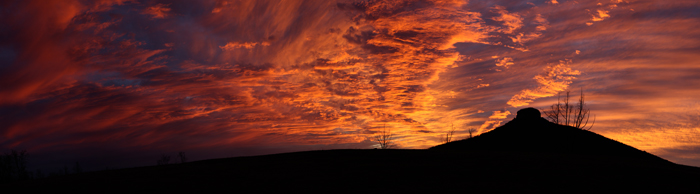 Fire in the Sky Over Pilot Panorama - Pilot Mountain Sunset in Spring 2009