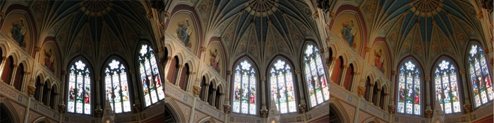 Comaping camera output (left) with a Photoshop generated HDR image (center) and a manually created HDR image (right)
