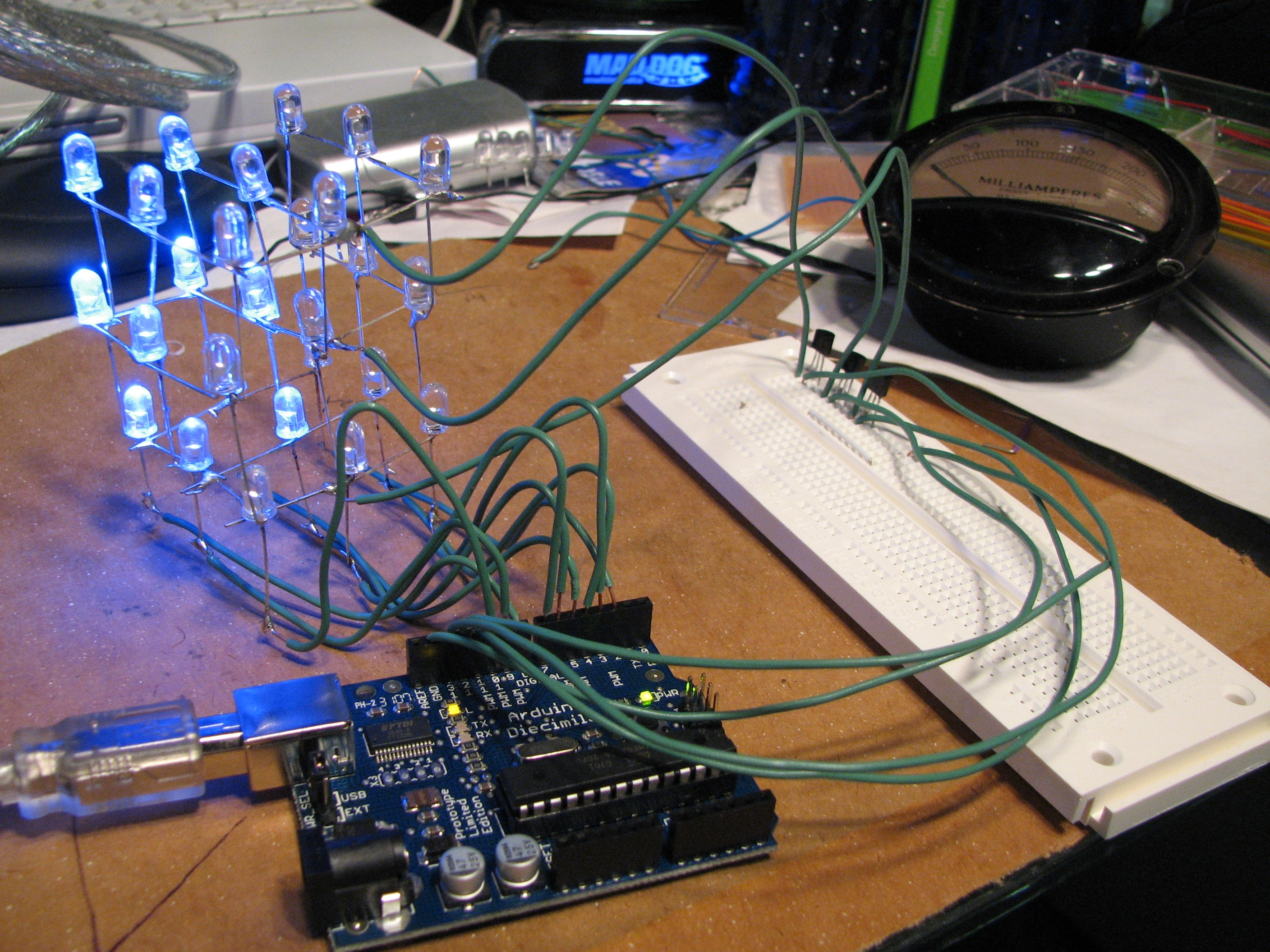 Arduino Advanced Led Blink Circuit 3x3x3 Cube Powered By An Board